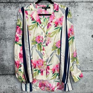 Elizabeth & James // Floral and Stripe Silk Blouse